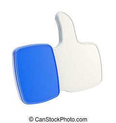 Thumb up like glossy plastic icon isolated