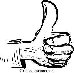 "Thumb up ""like"" hand symbol. Sketch illustration"