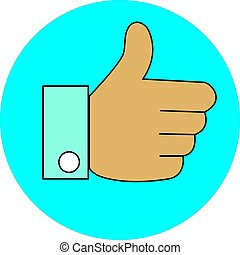 Thumb up like with blue circle on white background