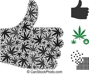 Thumb Up Mosaic of Marijuana