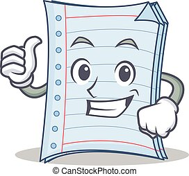 Thumb up notebook character cartoon style