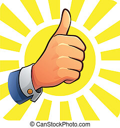 Thumb Up of Success - Image of thumb up hand with sunlight...