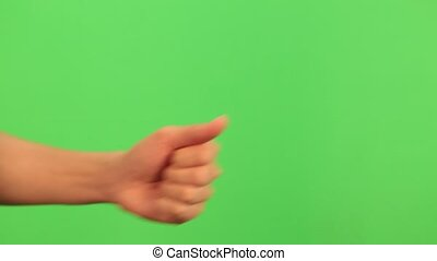 Thumb up, OK, good sign, gesture PACK chroma key. Woman hand closeup isolated at green screen background.