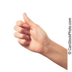 Thumb up on white background isolated