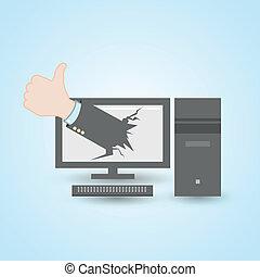 thumb up pc computer