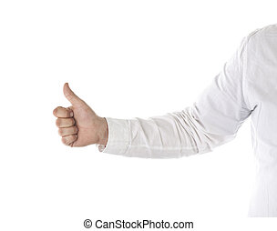 Thumb up - Businessman giving a thumb up, isolated on white...