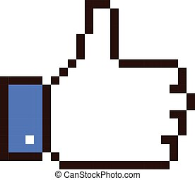 Thumb up pixel art cartoon retro game style