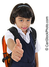 Thumb up primary school girl - Thumb up Southeast Asian...