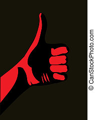 Thumb up. Red