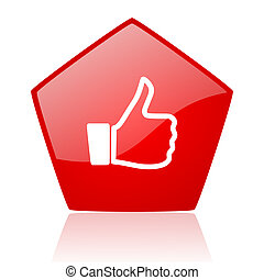 thumb up red web glossy icon