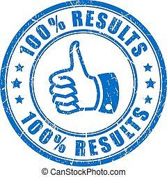 Thumb up results vector stamp isolated on white background