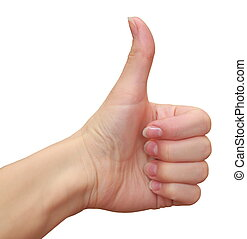 Thumb up sign by woman hand isolated on white background