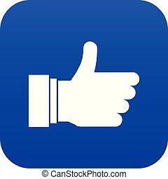 Thumb up sign icon digital blue