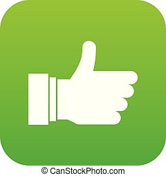 Thumb up sign icon digital green