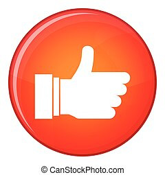 Thumb up sign icon, flat style