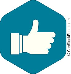 Thumb up sign icon, simple style