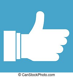 Thumb up sign icon white