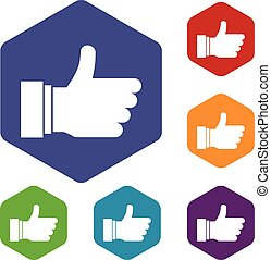 Thumb up sign icons set