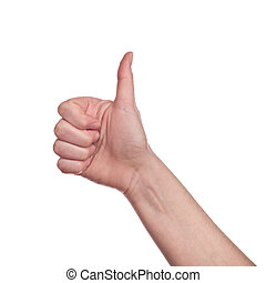 Thumb up sign on white background - Caucasian white female...