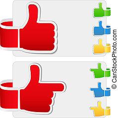 Thumb up signs - Vector set of thumb up signs