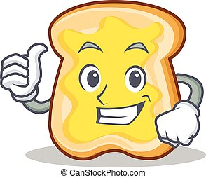 Thumb up slice bread cartoon character