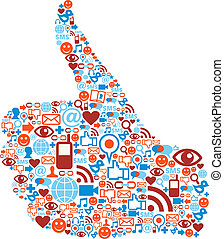 Thumb up Social media icons hand