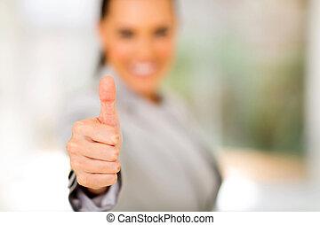 thumb up - business woman giving thumb up