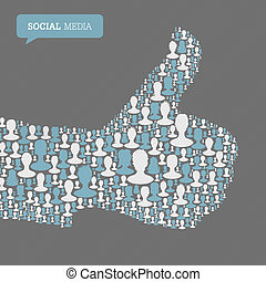 Thumb up symbol. Composed from many people silhouettes. Social media concept, vector