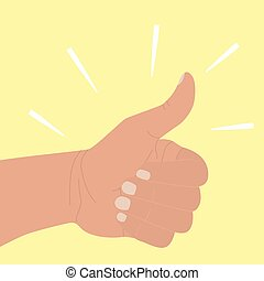 Thumb up. Symbol of agreement, praise, confirmation. Positive icon okay good job. Hand with raised thumb in flat cartoon style isolated on yellow background. Vector illustration. Gesture Like