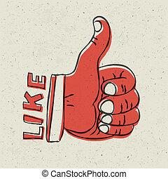 Thumb up symbol. Retro styled vector illustration, EPS10