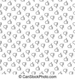 Thumb up thumb down seamless pattern