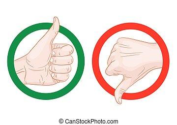 thumb up thumb down symbols