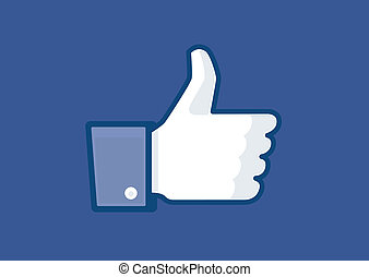 thumb up, white hand with blue sleeve (vector)