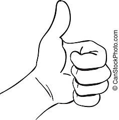 Vector illustration of a hand with thumb up, simple doodle sketch