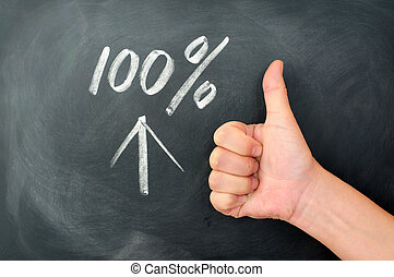 Thumb up with a 100 percent sign