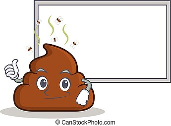 Thumb up with board Poop emoticon character cartoon