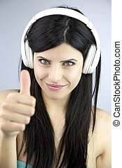 Thumb up with headphones