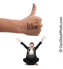 Thumb up with like mark. young woman enjoy social network on the internet