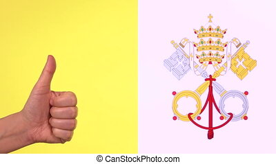 Thumb up with Vatican City State flag, approval gesture with...