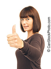 thumb up woman - An image of a woman with thumb up
