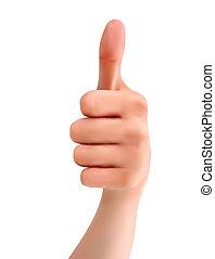 thumb., vettore, mano