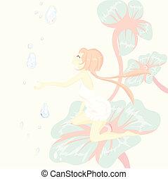 thumbelina, fiore, fantasy., seduta, racconto, carino, fata