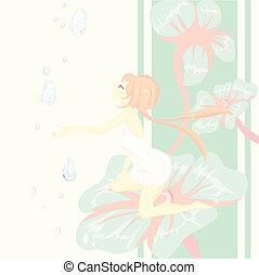 thumbelina, fleur, fantasy., séance, conte, joli, fée