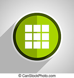 thumbnails grid icon, green circle flat design internet button, web and mobile app illustration