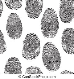 Vector thumb print background. Thumbprint, fingerprint seamless wallpaper. Crime, dactylography illustration.