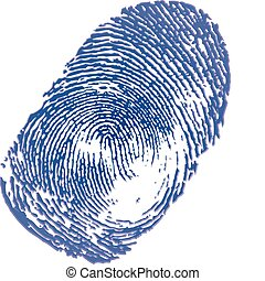 Blue ink thumbprint on white background. Vector Illustration