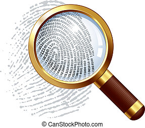Thumbprint examination - Fingerprint and magnifying glass....