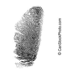 Thumbprint on a white background