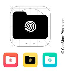 Thumbprint on folder icon. Vector illustration.