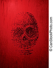 Vector thumbprint like a skull on red grunge background. Eps8. CMYK. Organized by layers. Global colors. Gradients used.